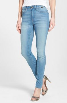 Free shipping and returns on Mavi Jeans 'Alissa' Stretch Skinny Jeans (Light Gold Soft) at Nordstrom.com. A higher rise creates figure-elongating flattery for light blue skinny jeans cut from extra-soft stretch denim. A faded-and-whiskered finish lends broken-in appeal.