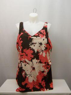 PLUS SIZE 34 Women 1PC Petunia Sarong Front Swimsuit BEACH BELLE Side Shirring  #BeachBelle #Sarong