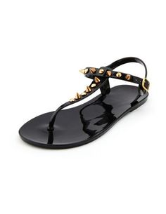 Spiked Jelly T-Strap Sandal: Charlotte Russe