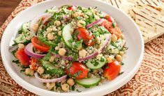 A new way to make a vegetarian favourite...Tabbouleh with Quinoa and Chickpeas Salad