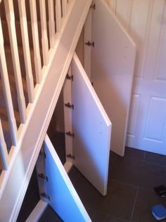 Under stairs storage hacks 42 ideas Staircase Storage, Stair Storage, Cupboard Storage, Wood Storage, Built In Storage, Under Steps Storage, Closet Storage, Door Under Stairs, Under Stairs Cupboard