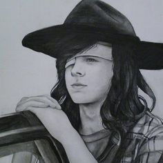 Pencil drawing of Chandler Riggs ( Carl Grimes ) by @hcdesignss