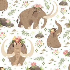 "Julia Badeeva on Instagram: ""Cute mammoths. White pattern  #mammoth #art #cute #pattern #digital #cartoon #illustration #juliabadeeva #instaart #floral #fabric…"""