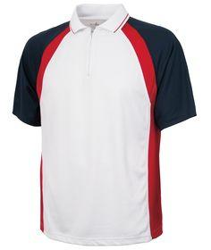 Charles River Apparel Style 3426 Men's Trinity Zip Polo - SweatshirtStation.com #CharlesRiverApparel #whitepolo #USAcolors