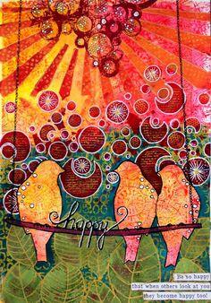 Art Journal Page - Happy - birgit koopsen