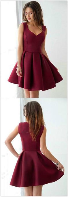 Red Wine Homecoming Dress,Stain Homecoming Dress,V Neck Prom