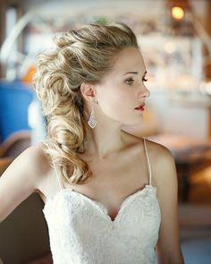 we ❤ this!  moncheribridals.com #sidesweptweddinghair #weddingupdo