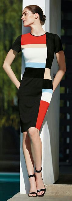 Be bold with your look in this graphic color blocking modernized classic sheath dress from the 2015 collection Classy Outfits, Pretty Outfits, Pretty Dresses, Casual Outfits, Dresses For Work, Bcbg, Lady, Fashion Colours, Colorblock Dress