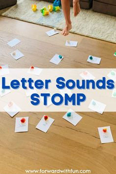 This contains: Foot stomping on letter sounds with playdoh