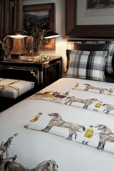 Spanish design that looks like Ralph Lauren. LOVE! Might have to consider this set when we buy a larger bed for the guest room!