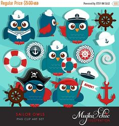 Cute Sailor Owls Clipart Super cute sailor and pirate owls clipart with lots of sailing accessories. 6 cute owls, captain owl, pirate owl, little sailor owls with cute sailor hats, pirate hat, captain hat. Anchor, sailing icons and other matching elements. Perfect for invitations, party printables and embroidery.  Contains 13 high quality Cliparts Format: 300 DPI transparent PNG files. Size: Most cliparts are saved around 6,7 inches tall  LICENSE: Personal Use & Commercial Use with Credit…