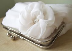 EllenVintage Silk Chiffon Clutch In Ivory Wedding by ellenVintage, $75.00
