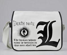 Death Note L Logo Shoulder Messenger White Bag AAAAAAAAAAAAHHH IMMA CRY I WANT THIS O BAD NO ONE KNOWS HOW MUCH I WANT THIS AAAAAAAAAAHHHHHHHHH