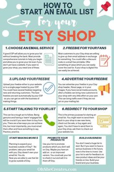 How to start an email list for your Etsy shop. This task doesn\'t have to be a huge job, with these quick steps, you can have your list up and running. Includes free printable checklist to keep you on track. Start Own Business, Starting An Etsy Business, Small Business Plan, Craft Business, Business Planning, Business Tips, Free Business Plan, Online Business, What To Sell
