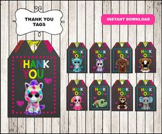 Beanie Boo Chalkboard thank you tags instant download