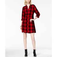Maison Jules Plaid Shirtdress, Created for Macy's (1.045 CZK) ❤ liked on Polyvore featuring dresses, banned red, tartan plaid dress, maison jules dress, long white shirt dress, red white dress and long plaid shirt dress