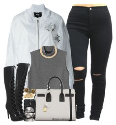 """Grey Shawty"" by dope-madness ❤ liked on Polyvore featuring Kokon To Zai, Monki, Yves Saint Laurent, Office, Alessandra Rich, Rolex and Tiffany & Co."