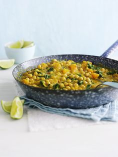 This chickpea and squash coconut curry is a great healthy, vegetarian midweek meal. If you can get it, Alpro coconut milk alternative has less saturated fat and fewer calories than regular coconut milk as its made with a rice milk base. Chickpea Recipes, Veggie Recipes, Indian Food Recipes, Vegetarian Recipes, Healthy Recipes, Ethnic Recipes, Vegetarian Options, Healthy Dinners, Healthy Foods
