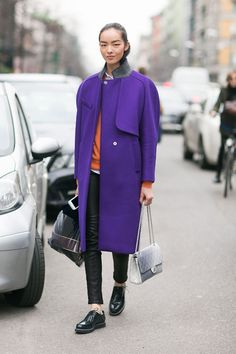 FEI FEI SUN AFTER ETRO FW14, MILAN What a gorgeous purple coat. Fei fei always looks chic!  - Melodie Jeng  (via On the Street: MFW Day 3 - Of The Minute)