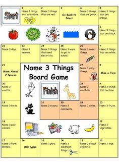 Board Game - Name 3 Things (Easy) - English ESL Worksheets for distance learning and physical classrooms Teaching English, Learn English, Ingles Kids, Speaking Games, Board Games For Kids, Game Boards, Diy Board Game, Icebreaker Games For Kids, School Games For Kids