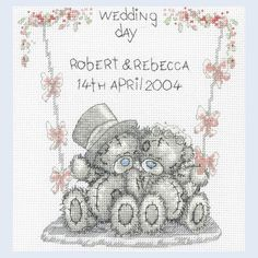 Wedding Day - Tatty Teddy - Teddy Hugs - counted cross stitch kit Coats Crafts