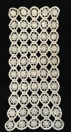 "Vintage Hand Crocheted Doily Table Topper Rectangle Cream 12"" x 26"" Nice"