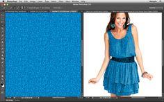Simulação no Photoshop. Levando o padrão do Illustrator para o Photoshop e aplicando na imagem de maneira super realista. Assista o vídeo no Site Metapix.