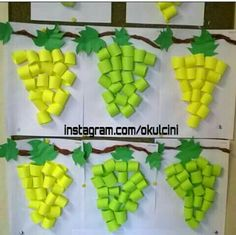 Very hungry caterpillar food theme crafts. Paper Crafts For Kids, Projects For Kids, Diy For Kids, Diy And Crafts, Autumn Crafts, Summer Crafts, Fruit Crafts, Sunday School Crafts, Art N Craft