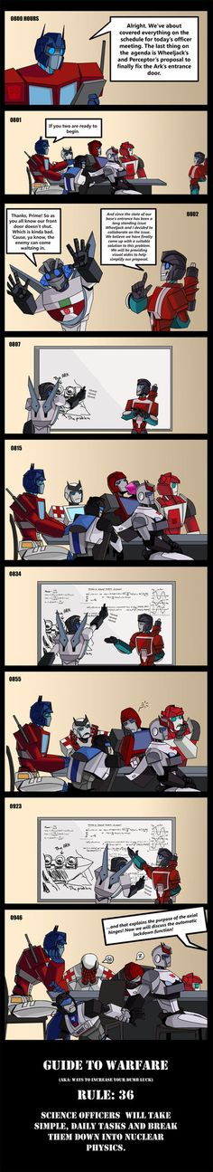 Prowl didn't even have to look to know Meister (Jazz) was sneaking out. It's the little details that make it funny.