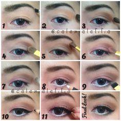 "[ ✨MAKEUP TUTORIAL✨ ] Tutorial details of ""Pinky Brownish"" #makeup #eyemakeup look. Hope u guys love it!! ✨ #tutorial #pictorial #stepbystep #howto #beauty #makeuptutorial"