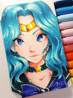 Sailor Neptune fanart ✧ _ You can support my art on Patreon where I share videos, process steps, sketches and even linearts to colour :) On… Copic Drawings, Anime Girl Drawings, Art Drawings Sketches, Cute Drawings, Art Anime, Anime Art Girl, Manga Art, Copic Marker Art, Copic Art