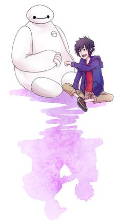 Baymax and Hiro /// Their shadows...  :(