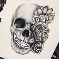 Another beautiful piece of art created by Metal Mulisha Maidens artist Bre. Skull and flowers.