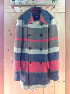 COMME des GARCONS HOMME Multi-Color Border Striped Wool Coat 427