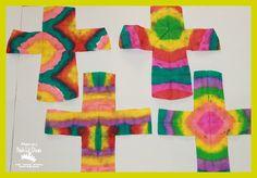 Mom to 2 Posh Lil Divas: {Faux} Tie Dye Easter Cross Art for Kids