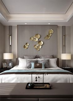 殷艳明:万科翡翠公园别墅样板间设计22 Home Bedroom, Modern Bedroom, Hotel Bedroom Decor, Bedroom Ideas, Bedroom Furniture, Master Room, Master Bedroom Design, Bedroom Designs, Gold Accents