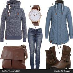 Warmes Outfit für Frauen mit dunkelblauem Naketano Hoodie und blauer Jacke. Die braunen Stiefel sind von Gabor und die Jeans von Alice & Elmer ist stark reduziert. #naketano #danielwellington #tomtailor #aliceelmer #outfit