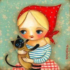 Siamese CAT and BABUSHKA blonde girl folk art PRINT of por tascha, $15.00