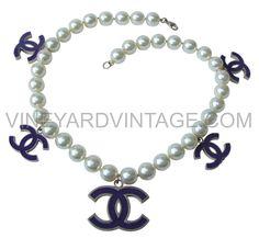 VineyardVintage.com - CHANEL PEARL AND FIVE PURPLE LOGO NECKLACE, $1,250.00 (http://www.vineyardvintage.com/chanel-pearl-and-five-purple-logo-necklace/)