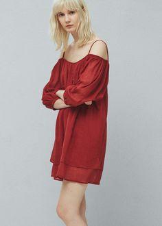 Robe coton fendue - Robes pour Femme | MANGO France