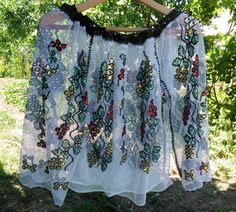 Vintage folk sequins embroidered Romanian traditional blouse handmade motifs, national costume, peasant blouse called IE, ethnic embroidery Peasant Blouse, Romania, Ethnic, Folk, Sequins, Costumes, Popular, Embroidery, Traditional