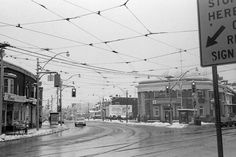 Dundas St. West and Roncesvalles Ave., Dec., 1982. Photo by Avard Woolaver.