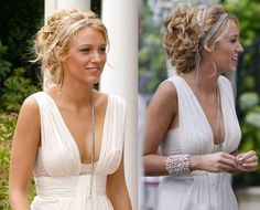 Serena van der Woodsen at the White Party Party Hairstyles, Cute Hairstyles, Wedding Hairstyles, Greek Hairstyles, Grecian Hairstyles, Serena Van Der Woodsen, Cabelo Ombre Hair, Blake Lively Hair, Twisted Hair