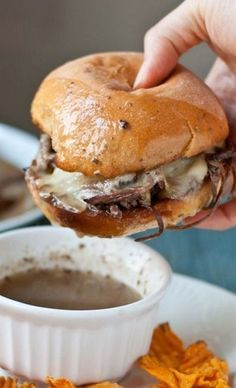 Slow Cooker Beef Brisket French Dip Sandwiches.