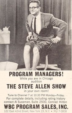 From 1962 to 1964, Allen re-created his Tonight Show on a new late-night The Steve Allen Show, which was syndicated by Westinghouse TV. The five-nights-a-week taped show was broadcast from an old vaudeville theater renamed The Steve Allen Playhouse on 1228 N. Vine St. in Hollywood. Allen Show, Conrad Hilton, Steve Allen, 42nd Street, Tv Land, Tonight Show, I Icon, Five Night, Late Nights