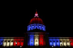 Hôtel de ville de San Francisco — Hommage attentat 13 novembre 2015 Paris 1
