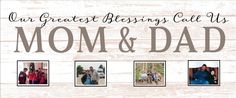 Greatest Blessings Call Us Mom & Dad Custom Photo Canvas Photo Clip Frame Wood Sign Christmas, Mother's Day, Valentines by HeartlandSigns on Etsy