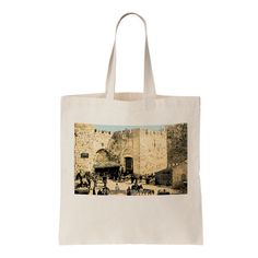 Canvas tote bag Jerusalem Jaffa Gate Century 19th by cafetorah