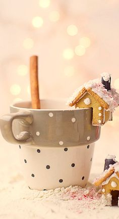 mini gingerbread houses with hot chocolate....