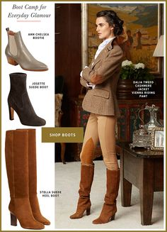 Gorsuch Dalia Tweed Jacket Suede Boots, Heeled Boots, Riding Pants, Polo Blue, Boot Shop, Tweed Jacket, Cashmere, Booty, Glamour